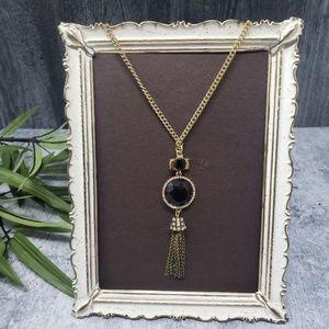 J. Crew | Antique Gold Jewel Tassel Necklace